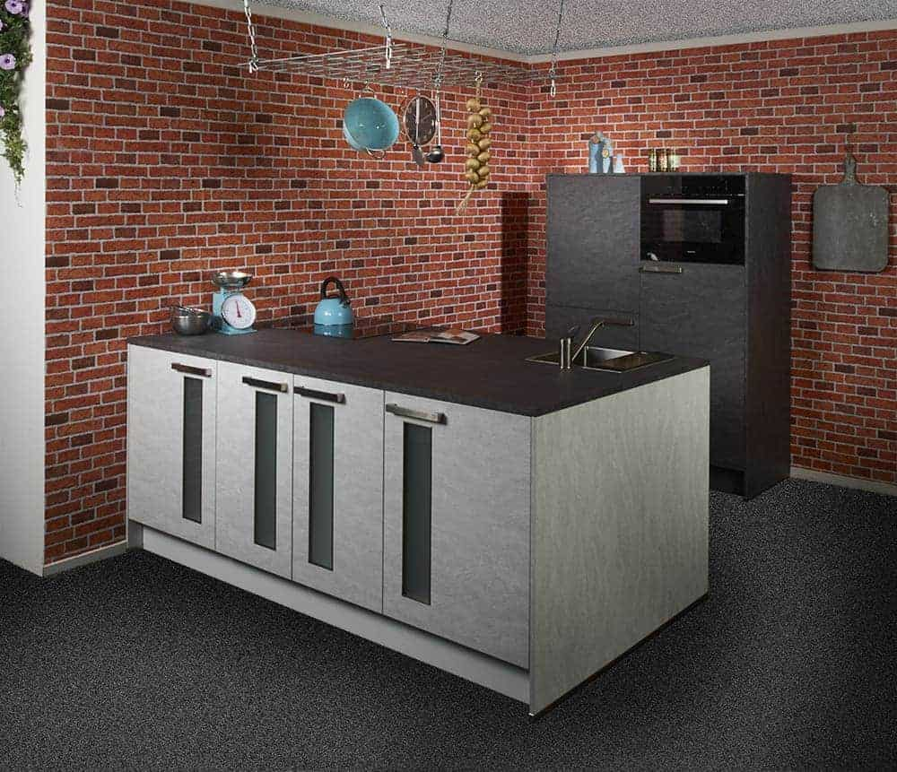 kitchen industrial with tiles