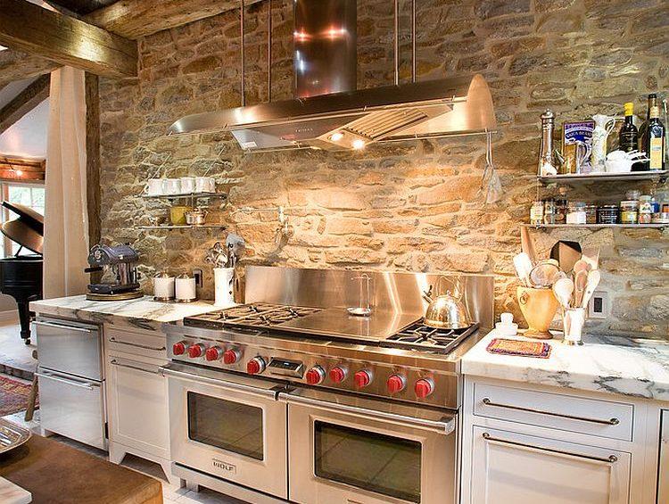 loft kitchen with sturdy appliances